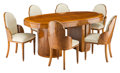 Furniture, A Harry and Louis Epstein Cloud Leather and Walnut Dining Set, circa 1930. 30 x 71 x 42 inches (76.2 x 180.3 x 1... (Total: 7 Items)