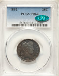 Proof Barber Quarters: , 1892 25C PR64 PCGS. CAC. PCGS Population: (92/78). NGC Census: (90/103). CDN: $650 Whsle. Bid for NGC/PCGS PR64. Mintage 1,...