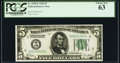 Fr. 1950-E $5 1928 Federal Reserve Note. PCGS Choice New 63