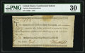 United States Congress Federal Indent Oct. 11, 1787 $1 and 80/90th's PMG Very Fine 30