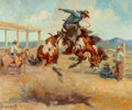 Paintings, Olaf Wieghorst (American, 1899-1988). Pitching Pony, 1949. Oil on canvas. 30 x 36 inches (76.2 x 91.4 cm). Signed lower ...