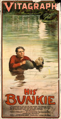 "Movie Posters:Drama, His Bunkie (Vitagraph, 1915). Folded, Good/Very Good on Canvas. Three Sheet (40"" X 78""). Drama.. ..."