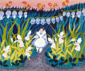 Animation Art:Concept Art, Mary Blair Alice in Wonderland Alice with Flowers and Birds Concept Painting (Walt Disney, 1951)....