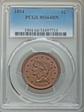 1854 1C MS64 Brown PCGS. PCGS Population: (162/67). NGC Census: (121/107). CDN: $345 Whsle. Bid for NGC/PCGS MS64. Minta...