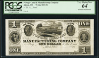 Akron, OH- Portage Canal and Manufacturing Company $1 18__ Proof Wolka 0023-01 PCGS Very Choice New 64
