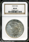 Peace Dollars: , 1922-S MS60 NGC. The current Coin Dealer Newsletter (...