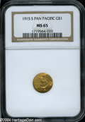 Commemorative Gold: , 1915-S Panama-Pacific Gold Dollar MS65 NGC. ...