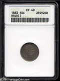 Coins of Hawaii: , 1883 Hawaii Ten Cents XF40 ANACS. ...