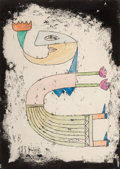 Paintings, Victor Brauner (1903-1966). Untitled, 1954. Ink, watercolor, and wax on paper. 9-5/8 x 7 inches (24.4 x 17.8 cm) (sheet)...
