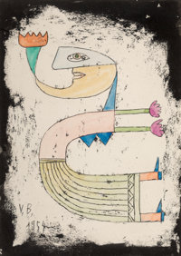 Victor Brauner (1903-1966) Untitled, 1954 Ink, watercolor, and wax on paper 9-5/8 x 7 inches (24