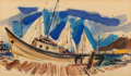 Works on Paper, Wayne Thiebaud (b. 1920). Untitled (Sausalito Dock), 1952. Watercolor on paper. 6 x 10-1/8 inches (15.2 x 25.7 cm) (sigh...