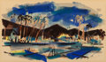 Works on Paper, Wayne Thiebaud (b. 1920). Untitled (Palm Springs), 1952. Watercolor on paper. 6 x 10-1/8 inches (15.2 x 25.7 cm) (sight)...