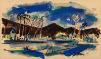 Wayne Thiebaud (b. 1920) Untitled (Palm Springs), 1952 Watercolor on paper 6 x 10-1/8 inches (15