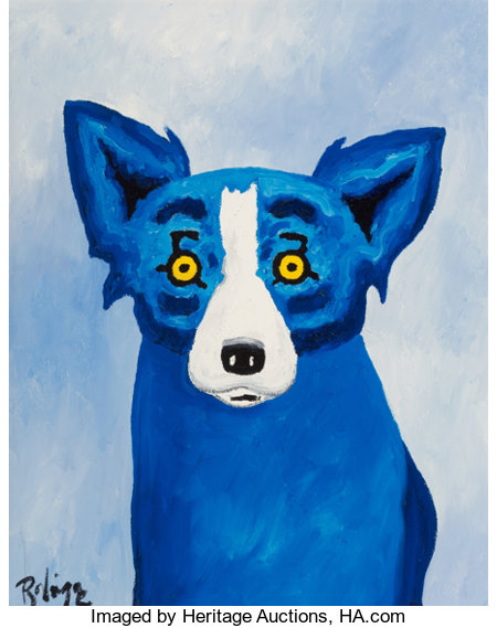 George Rodrigue (1944-2013) Blue Dog, 1996 Oil on canvas  14 x 11 inches (35.6 x 27.9 cm) Signed lower left: Rodri...