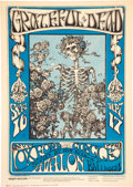 "Music Memorabilia:Posters, FD-26 Grateful Dead 1966 ""Skeleton & Roses"" Concert Poster w/Blue Color Only...."