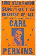 """Music Memorabilia:Posters, Carl Perkins 1961 """"Mr. Blue Suede Shoes"""" Boxing-Style Concert Poster...."""