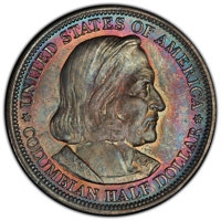 1893 50C Columbian MS67 PCGS. PCGS Population: (39/0 and 7/0+). NGC Census: (33/1 and 2/0+). MS67. Mintage 1,550,405...
