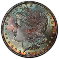 1882 $1 MS66+ PCGS. CAC. PCGS Population: (436/17 and 73/1+). NGC Census: (215/9 and 4/0+). CDN: $900 Whsle. Bid for NGC...