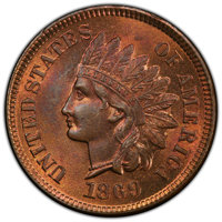 1869/69 1C Snow-3, FS-301, MS64 Red and Brown PCGS. PCGS Population: (32/23 and 1/1+). NGC Census: (34/33 and 0/0+). CDN...