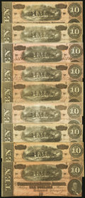 Confederate Notes:1864 Issues, T68 $10 1864 Nine Examples Fine or better.. ... (Total: 9 notes)