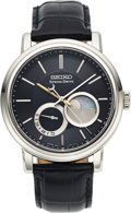 Timepieces:Wristwatch, Seiko, Spring Drive Moonphase Power Reserve, Stainless Steel, Limited Edition 014/200, Circa 2008. ...