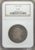 Early Half Dollars, 1795 50C Two Leaves Fine 15 NGC. NGC Census: (61/361). PCGS Population: (223/646). CDN: $2,000 Whsle. Bid for NGC/PCGS Fine...