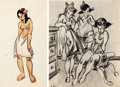 """Animation Art:Production Drawing, """"The Art of Fred Moore"""" Polynesian Girl Illustration and Vintage Photo Print Group (Walt Disney, c. 1940s).... (Total: 2 Items)"""