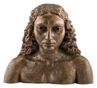 Sir Jacob Epstein (British, 1880-1959) Israfel (Sunita) Bronze with brown patina 18-1/2 x 21 x 9-