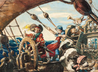 Peter Pan Peter and Wendy on the Jolly Roger Concept Painting by David Hall Original Art (Walt Disney
