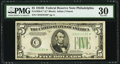 Fr. 1958-C* $5 1934B Federal Reserve Note. PMG Very Fine 30