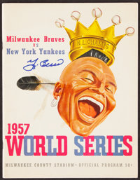 Signed 1957 World Series Milwaukee Braves Program (Berra)