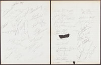 Signed 1950's-1960's Baseball Players (50) School Notebook Pages With Stars & HoFers