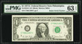 Small Size:Federal Reserve Notes, Radar Serial Number 70811807 Fr. 1910-C $1 1977A Federal Reserve Note. PMG Choice Uncirculated 63 EPQ.. ...