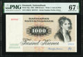 World Currency, Denmark National Bank 1000 Kroner 1992 Pick 53g PMG Superb Gem Unc 67 EPQ.. ...