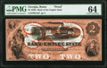Rome, GA- Bank of the Empire State $2 18__ UNL Proof PMG Choice Uncirculated 64