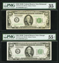 Fr. 2154-E; G $100 1934B Federal Reserve Notes. PMG Choice Very Fine 35; About Uncirculated 55 EPQ. ... (Total: 2 notes)