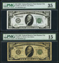 Small Size:Federal Reserve Notes, Fr. 2000-J; J* $10 1928 Federal Reserve Notes. PMG Graded Choice Very Fine 35; Choice Fine 15.. ... (Total: 2 notes)