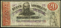 """Obsoletes By State:Louisiana, Shreveport, LA- State of Louisiana $20 Mar. 10, 1863 Ad Note """"Go To / Borges House, / No. 109 Custom House St / New Orleans,..."""