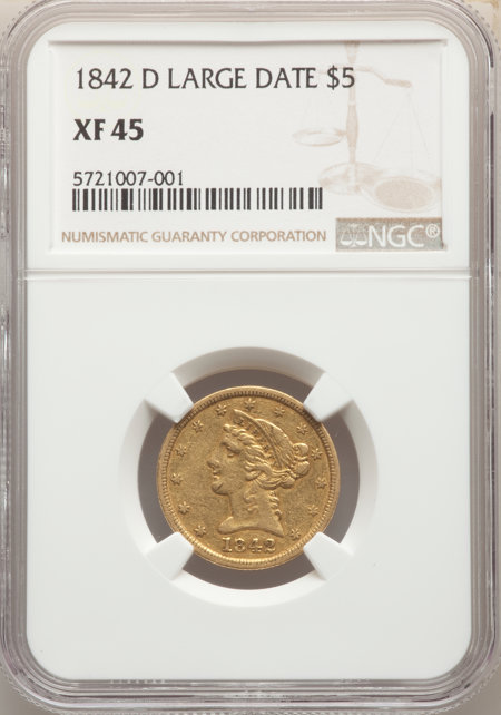 1842-D $5 Large Date 45 NGC