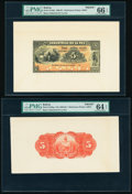 Bolivia Banco Industrial de La Paz 5 Bolivianos 1.6.1900 Pick S152fp; S152bp Front and Back Proofs PMG Gem Uncirculated...