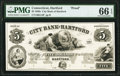 Obsoletes By State:Connecticut, Hartford, CT- City Bank of Hartford $5 18__ as G14 Proof PMG Gem Uncirculated 66 EPQ.. ...