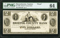 Obsoletes By State:Massachusetts, Taunton, MA- Bristol County Bank $2 18__ G22 Proof PMG Choice Uncirculated 64.. ...