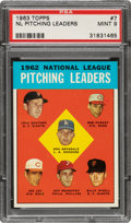 Baseball Cards:Singles (1960-1969), 1963 Topps NL Pitching Leaders #7 PSA Mint 9 - None Higher! ...
