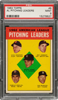 Baseball Cards:Singles (1960-1969), 1963 Topps AL Pitching Leaders #8 PSA Mint 9 - Pop Four, None Higher! ...