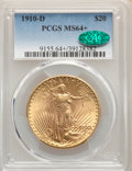 1910-D $20 MS64+ PCGS. CAC. PCGS Population: (2560/1357). NGC Census: (1763/478). CDN: $1,892.06.Whsle. Bid for NGC/PCGS...