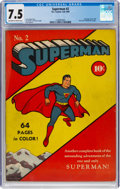 Golden Age (1938-1955):Superhero, Superman #2 (DC, 1939) CGC VF- 7.5 Off-white to white pages....