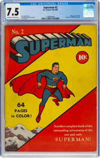 Superman #2 (DC, 1939) CGC VF- 7.5 Off-white to white pages