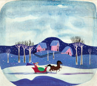 """Mary Blair Melody Time """"Once Upon a Wintertime"""" Concept/Color Key Painting (Walt Disney, 1948)"""