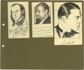 Movie/TV Memorabilia:Autographs and Signed Items, Original Celebrity Sketches Signed By Paul Robeson and Others. Aselection of three small pen-and-ink sketches by Robeert L....