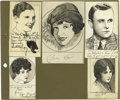 Movie/TV Memorabilia:Autographs and Signed Items, Original Celebrity Sketches Signed By Clara Bow and Others. Aselection of nine small pen-and-ink sketches by Robert L. Whit...